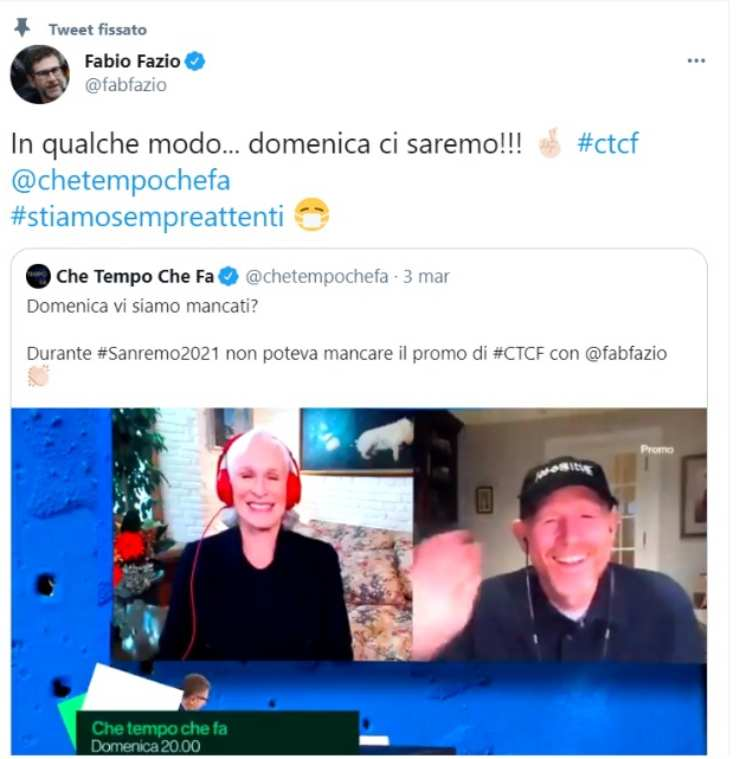 Fabio Fazio che tempo che fa - solonotiozie24