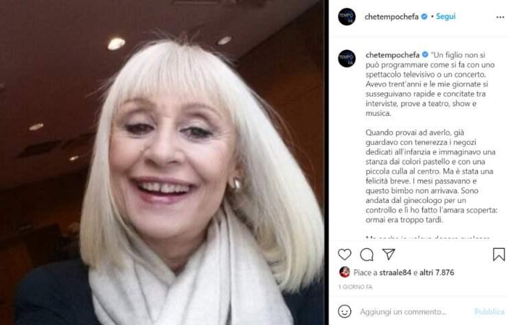 Raffaella Carrà mancata maternità - Solonotizie24